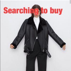 zara biker shearling jacket